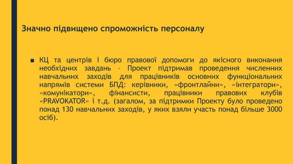 КЛЮЧОВІ ДОСЯГНЕННЯ ПРОЕКТУ Компонент 100-4